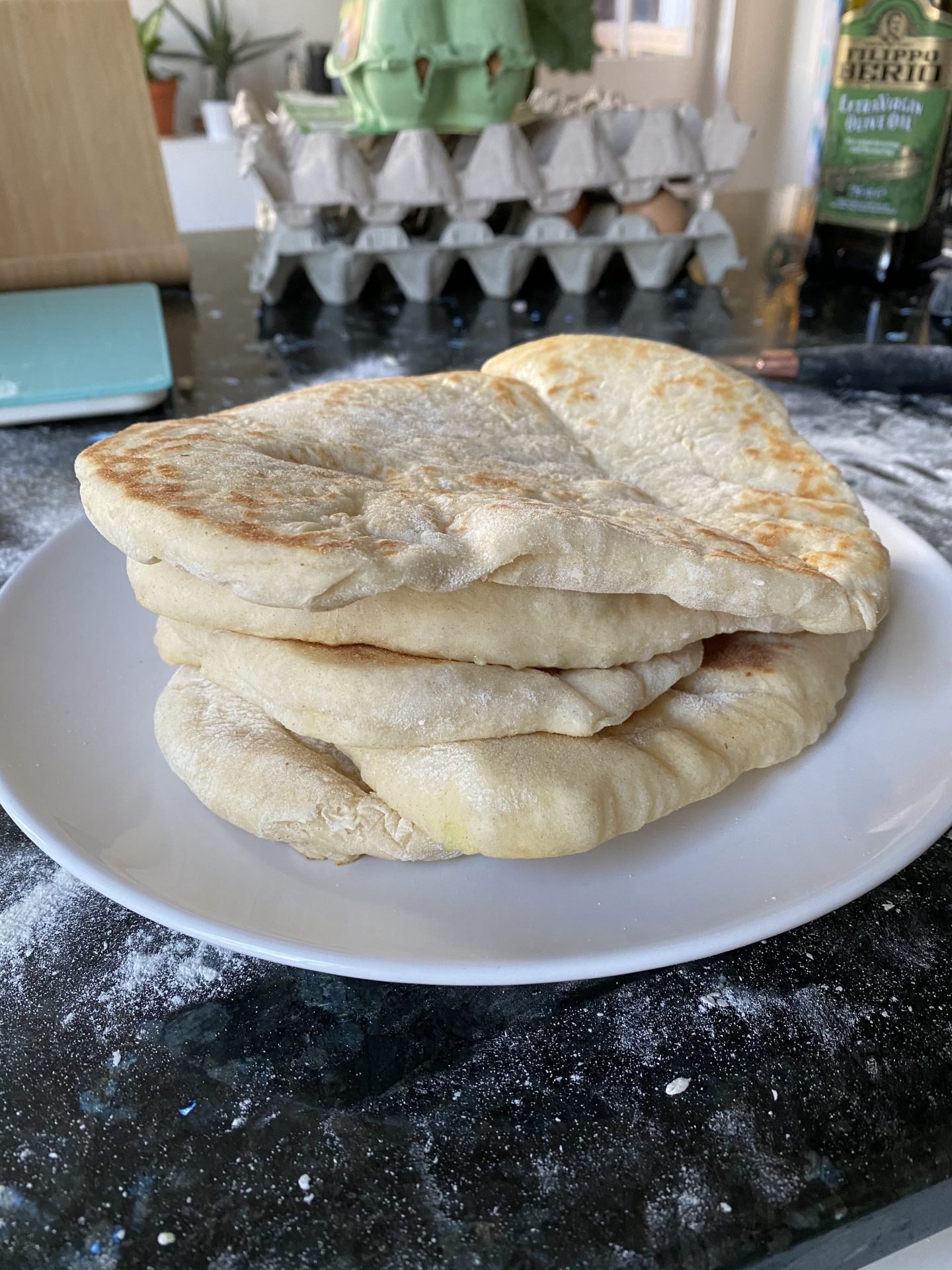 stack of fresh homemade flatbreads