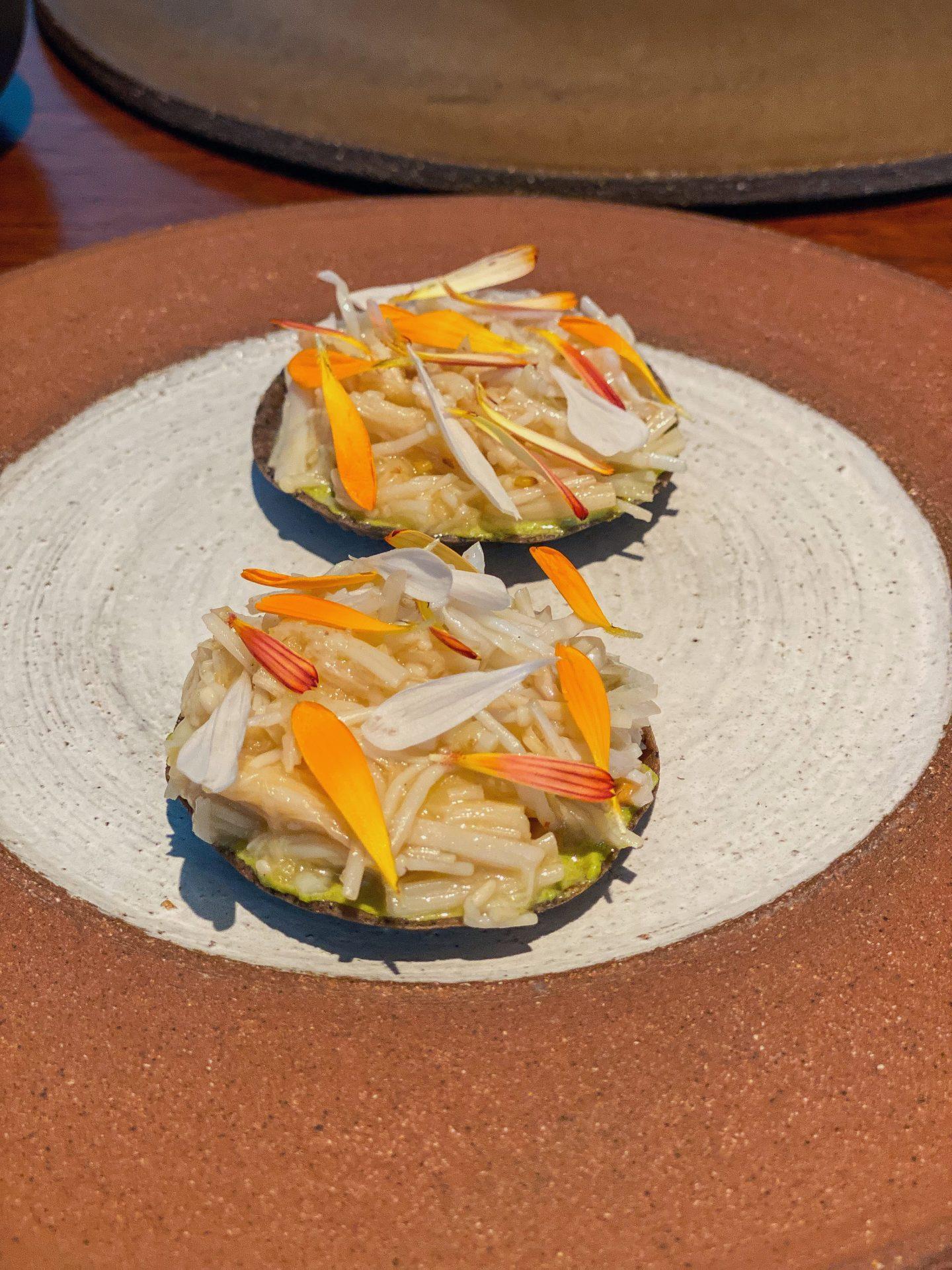 Cornish crab and enoki mushroom chalupa